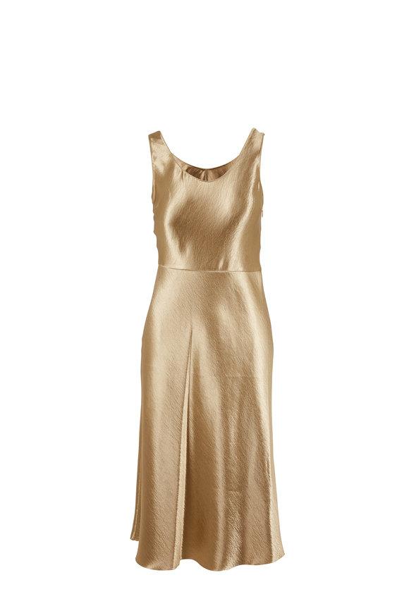 Vince Pale Gold Metallic Tank Dress