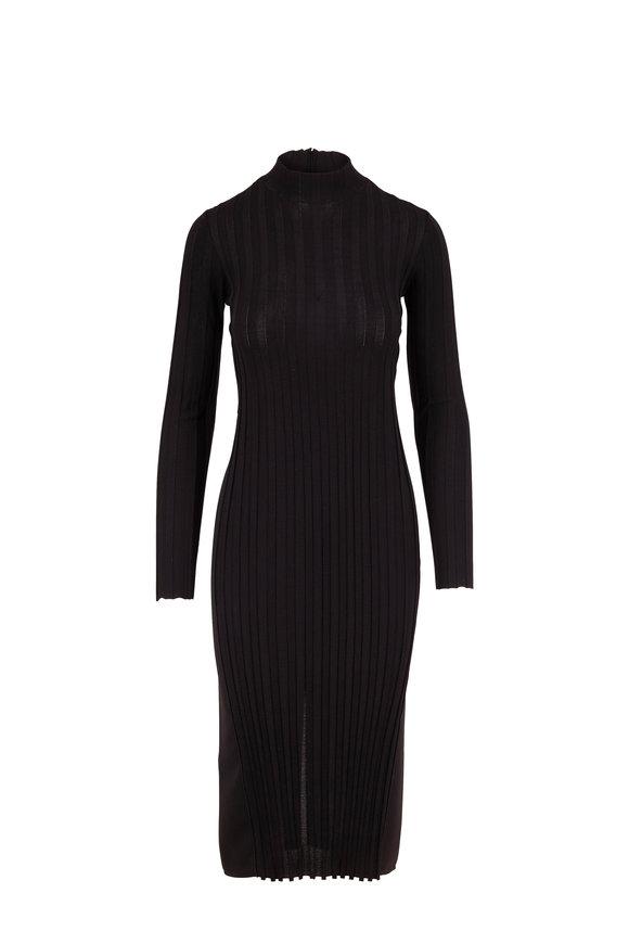 Vince Black Mixed Rib Long Sleeve Turtleneck Dress