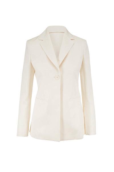 The Row - Kiro Ivory Silk & Linen Single Button Jacket
