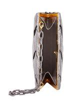 Nancy Gonzalez - Anthracite Elaphe Snakeskin Woven Frame Clutch