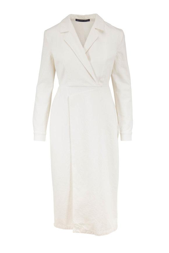Zeynep Arcay White Denim Long Sleeve Midi Dress