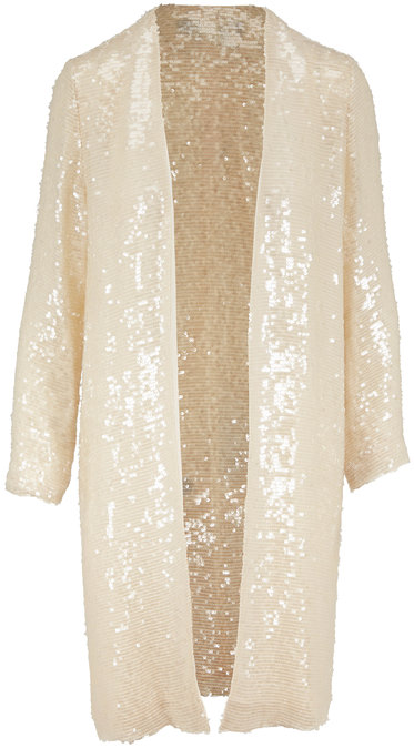 Sally LaPointe Cream Sequin Open Front Cardigan