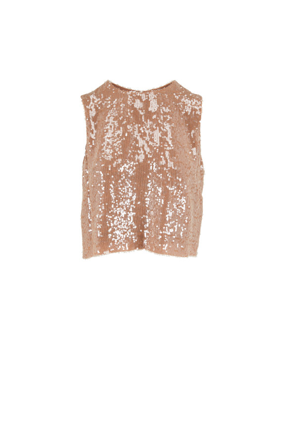 LaPointe Camel Sequin Crop Tank Top