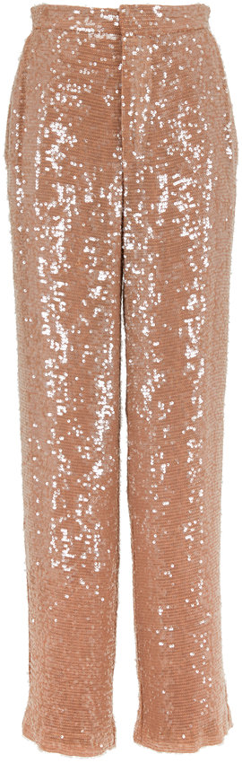 Sally LaPointe Camel Sequin High-Rise Pant