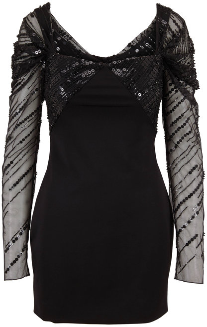 Cushnie Black Sequin Long Sleeve Mini Dress