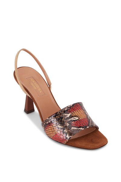 Aquazzura - Leigh Sunset & Desert Snakeskin Slingback, 75mm