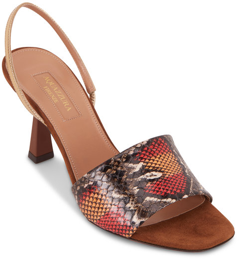 Aquazzura Leigh Sunset & Desert Snakeskin Slingback, 75mm