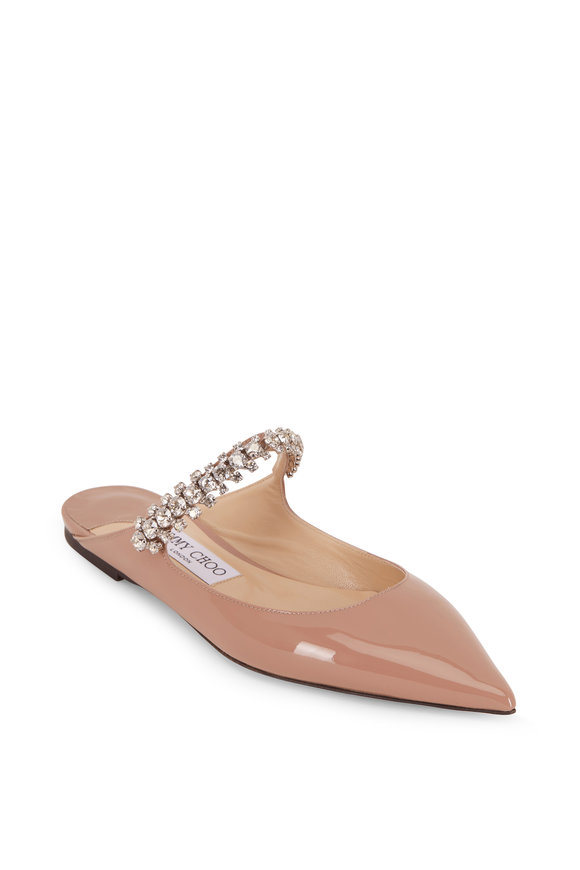 Jimmy Choo Bing Ballet Pink Patent Leather Crystal Flat
