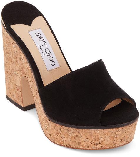 Jimmy Choo Deedee Black Suede Platform Sandal, 125mm