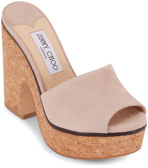 Jimmy Choo Deedee Ballet Pink Suede Platform Sandal, 125mm
