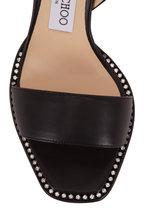 Jimmy Choo - Minase Black Leather Crystal Stud Sandal, 85mm