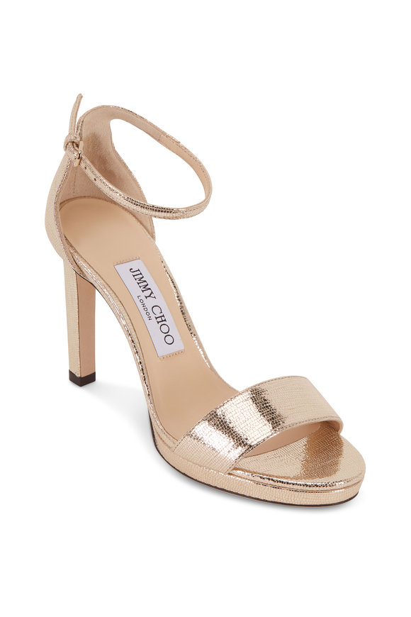 Jimmy Choo Misty Light Gold Lizard Embossed Sandal, 100mm