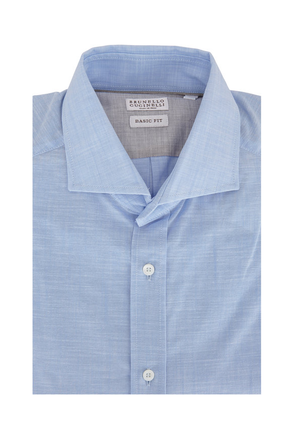 Brunello Cucinelli Light Blue Basic Fit Sport Shirt