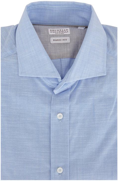 Brunello Cucinelli Light Blue Basic Fit Sport Shirt