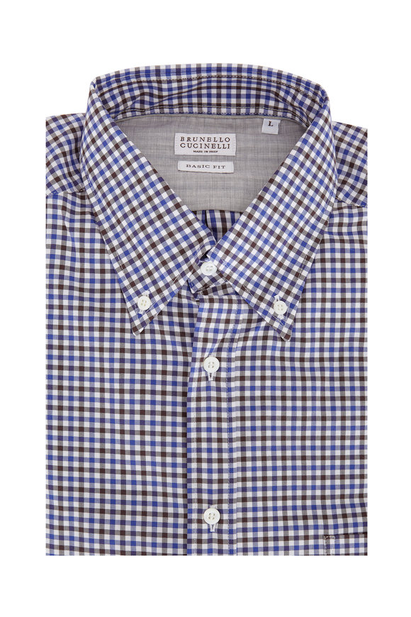 Brunello Cucinelli  Navy Blue & Brown Gingham Basic Fit Sport Shirt