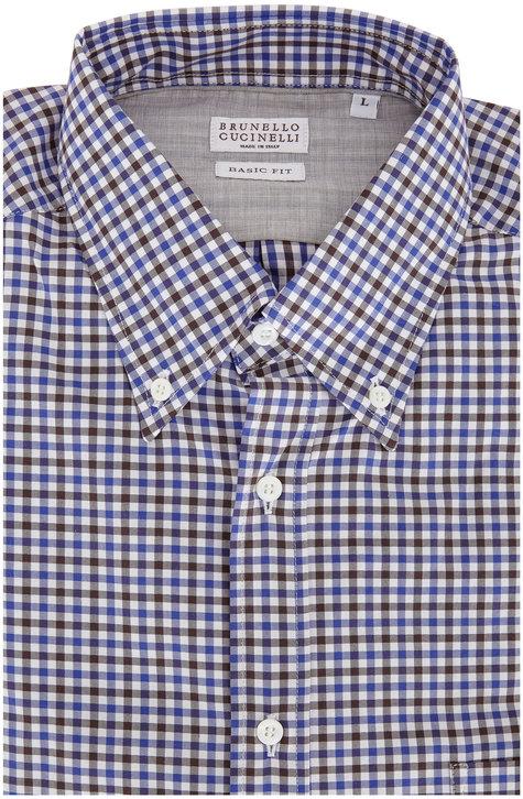 Brunello Cucinelli  Navy Blue & Brown Gingham Basic Fit Sport Shirt