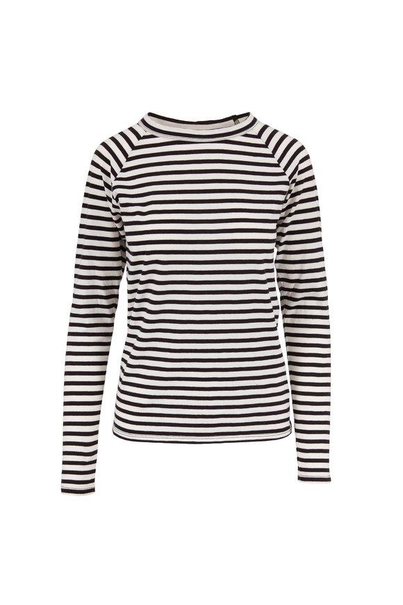 Nili Lotan Black & White Striped Long Sleeve Baseball T-Shirt