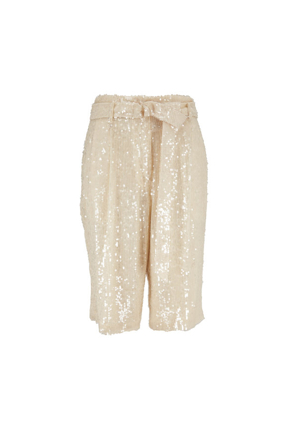 Sally LaPointe Cream Sequin Belted Bermuda Shorts