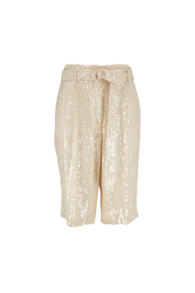 Sally LaPointe - Cream Sequin Belted Bermuda Shorts