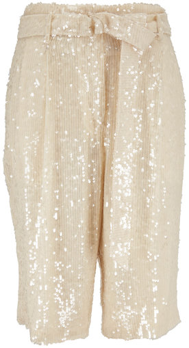 Sally LaPointe Cream Sequin Belted Bermuda Shorts