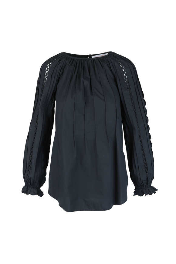 See by Chloé Black Cotton Poplin Embellished Sleeve Top