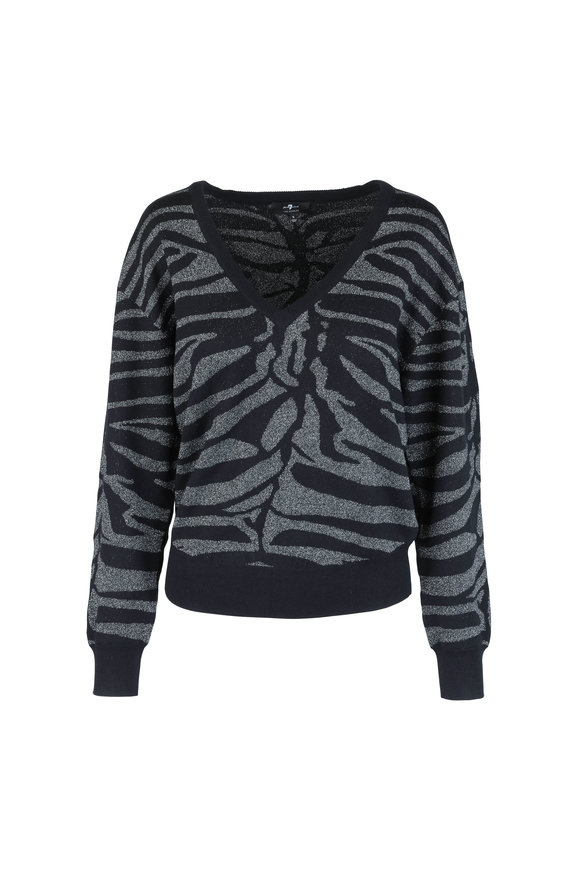7 For All Mankind Black Lurex Zebra Print Sweater