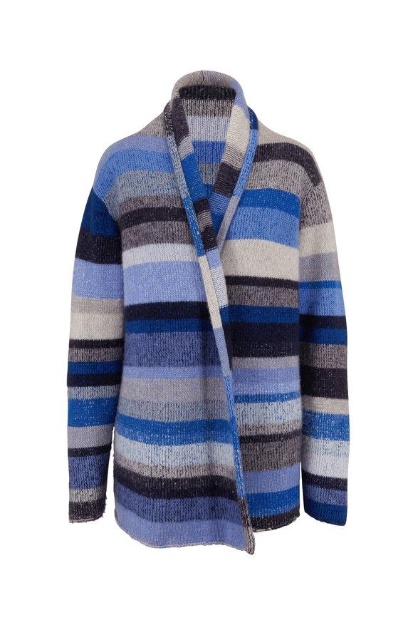 The Elder Statesman Italy Silver, Navy & Blue Cashmere Smoking Jacket