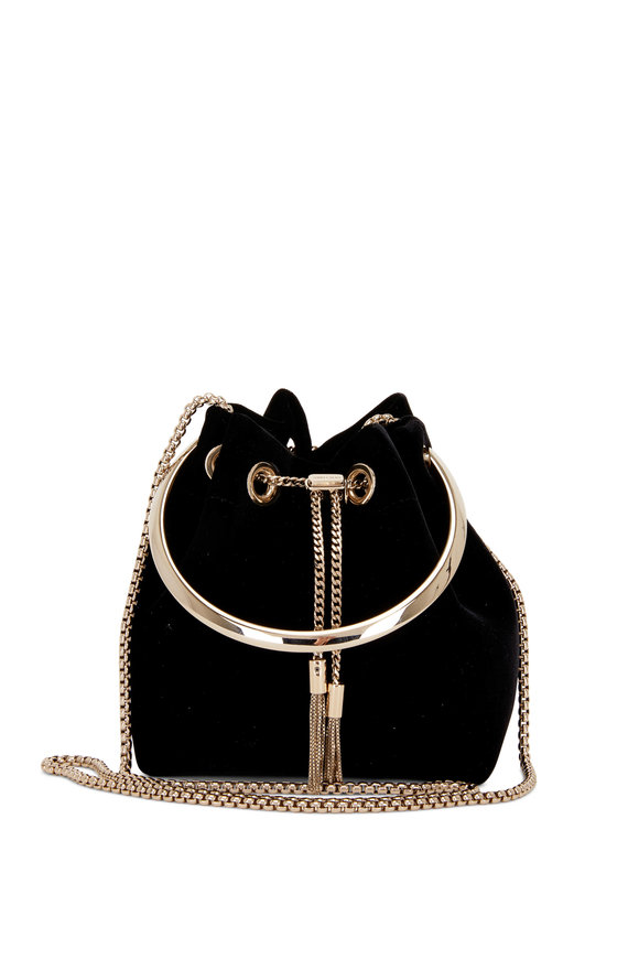 Jimmy Choo Bon Bon Black Velvet Metal Handle Mini Bucket Bag