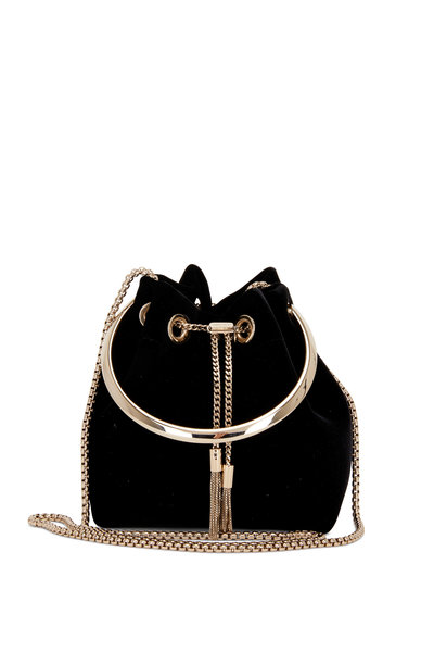 Jimmy Choo - Bon Bon Black Velvet Metal Handle Mini Bucket Bag