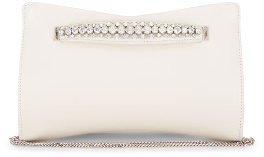 Jimmy Choo Venus Latte Leather Crystal Bracelet Clutch
