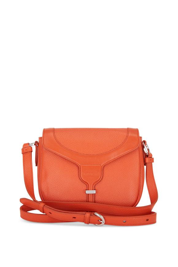 Tod's Joy Orange Pebbled Leather Crossbody Bag