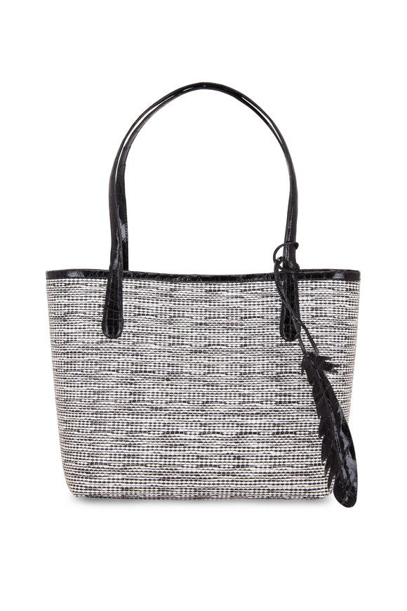 Nancy Gonzalez Erica Black Crocodile & Raffia Tweed Small Tote