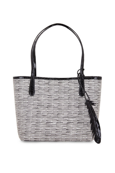 Nancy Gonzalez - Erica Black Crocodile & Raffia Tweed Small Tote