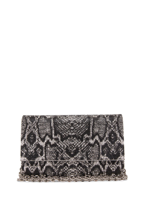 Judith Leiber Couture Fizzoni Silver & Black Snake Crystal Clutch