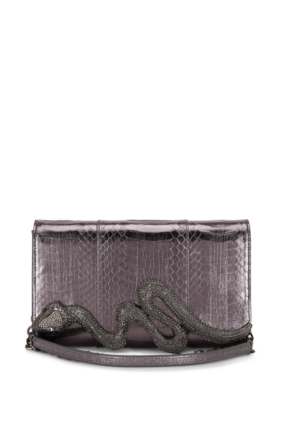 Judith Leiber Couture Anthracite Snakeskin Crystal Serpent Clutch