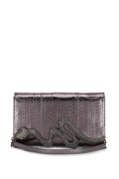 Judith Leiber Couture - Anthracite Snakeskin Crystal Serpent Clutch