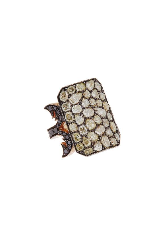 Sylva & Cie Gold & Silver Black & Yellow Diamond Signet Ring