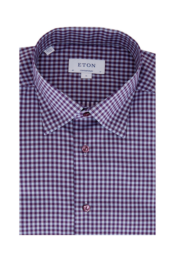 Eton Purple Gingham Contemporary Fit Sport Shirt