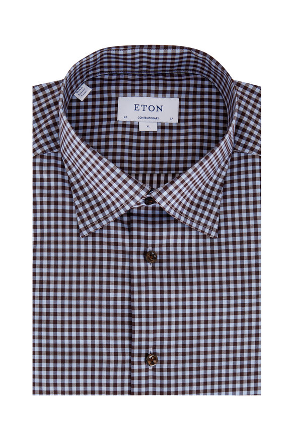Eton Brown Gingham Contemporary Fit Sport Shirt