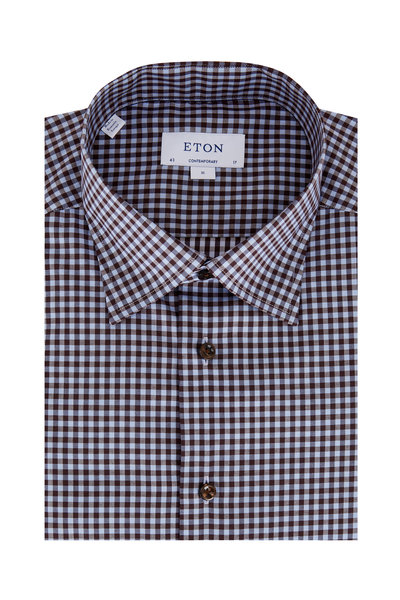 Eton - Brown Gingham Contemporary Fit Sport Shirt