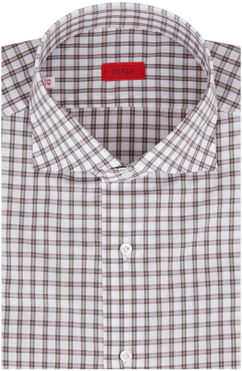 Isaia Brown Gray Tattersall Dress Shirt
