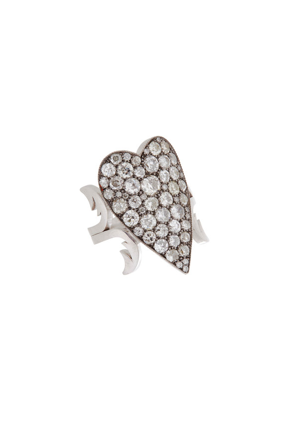 Sylva & Cie 18K White Gold & Silver Ten Table Heart Ring