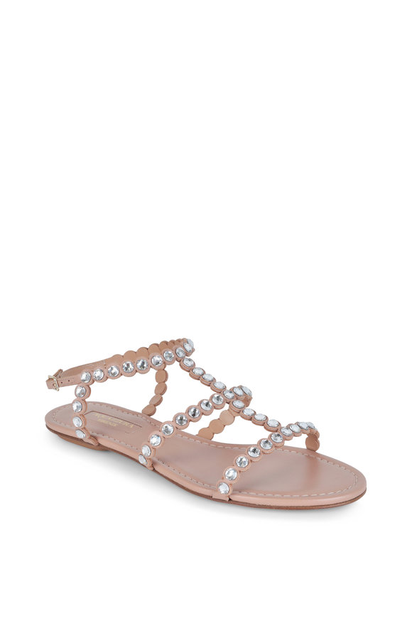 Aquazzura Tequila Powder Pink Crystal Flat Sandal