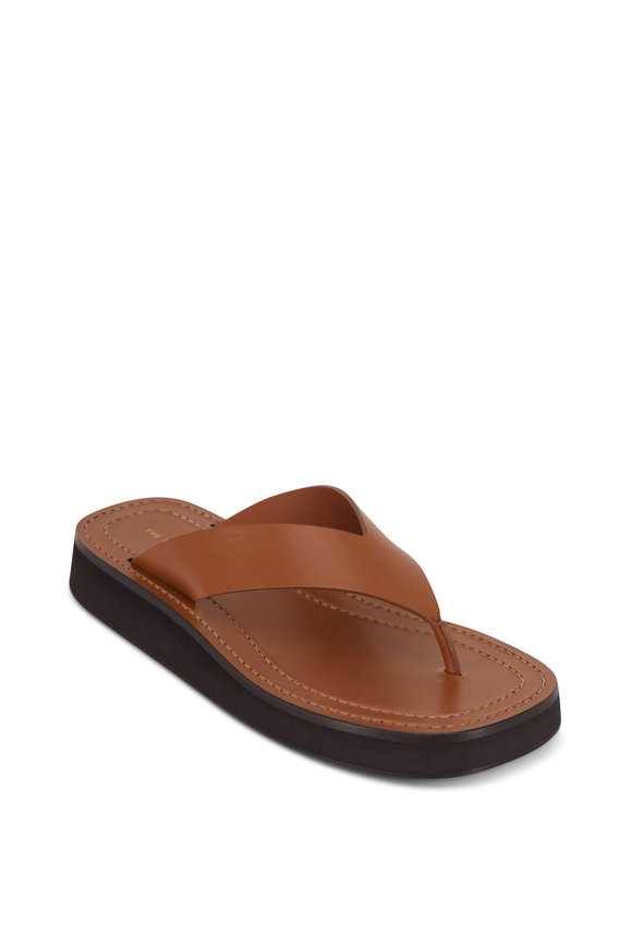 The Row Ginza Caramel Leather Thong Sandal