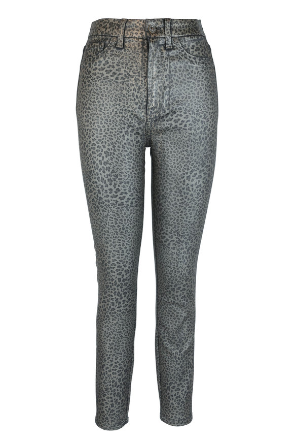 7 For All Mankind Brown Leopard Coated High-Waist Skinny Jean