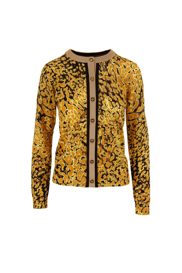 Escada Sivan Fantasy Gold Animal Print Cardigan