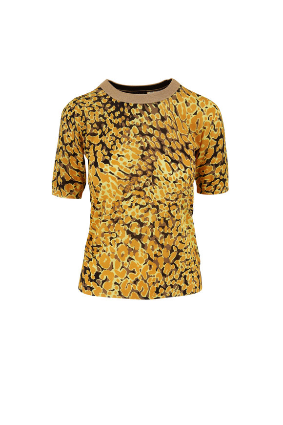 Escada Sindra Fantasy Gold Animal Print Top
