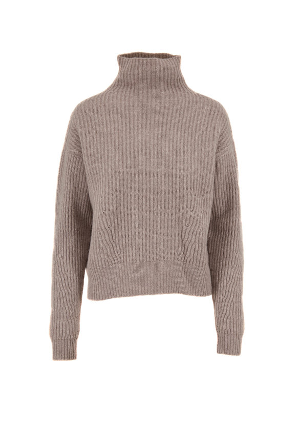 Le Kasha Verbier Light Brown Ribbed Knit Cashmere Sweater