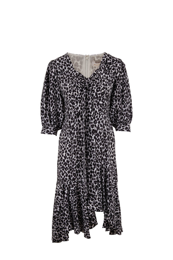 Michael Kors Collection Slate Leopard Silk Elbow Sleeve Rumba Dress