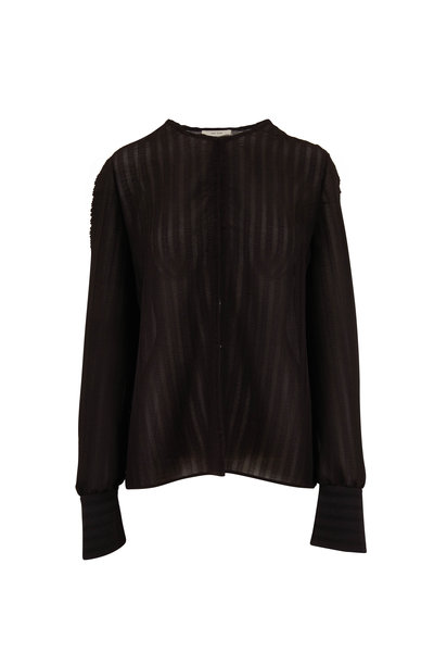 The Row - Bruna Black Smocked Blouse